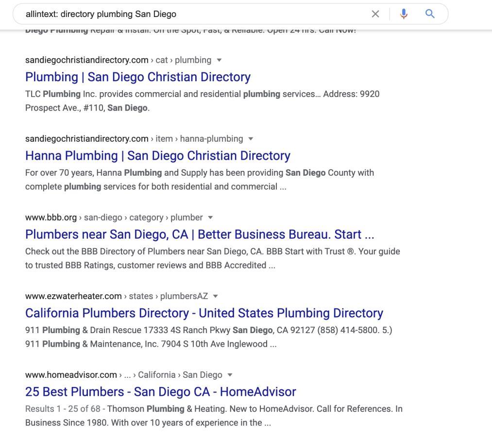 directory listings in google search