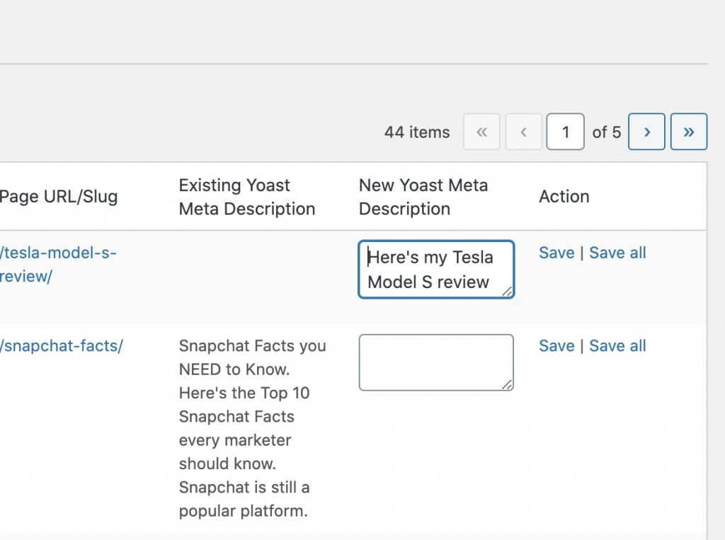 editing the YOAST Meta description